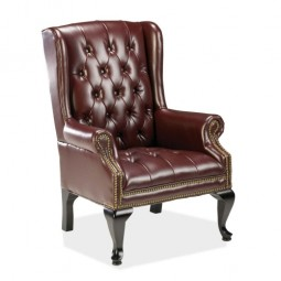 "Lorell Queen Anne Side Chair, 29"" x 30"" x 39½"", Burgundy Leather"