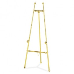 "Quartet Brass Easel, Tripod, Nontarnish, 69"" High, Brass"