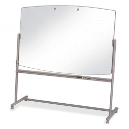 "Quartet Reversible Mobile Easel Board, 6' x 4' to 75"", Neutral"