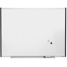 Lorell Magnetic Dryerase Board, with Grid Lines, 4' x 3', Silver/Ebony