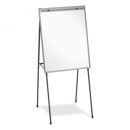 "Lorell DryErase Board Easel, Rubber Feet, 40"" to 70"", Black"