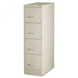 """Lorell Vertical File, 4-Drawer, 15"""" x 26½"""" x 52"""", Putty"""