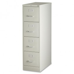 """Lorell 4-Drawer Vertical File, with Lock, 15"""" x 25"""" x 52"""", Putty"""