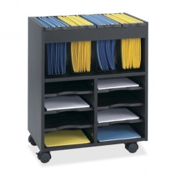 "Safco File Cart, with Storage Bins, 21½"" x 14½"" x 26¼"", Black"