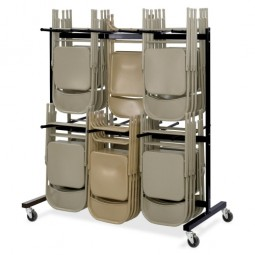"""Safco Chair Cart, Double Tier, Holds 84, 64½"""" x 33½"""" x 70¼"""", Black"""
