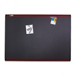 Quartet Magnetic Fabric Bulletin Board, with Magnets, 6' x 4', Mahogany Finish