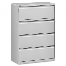 "Lorell Lateral File, 4 Drawer, 42"" x 18⅝"" x 52½"", Light Gray"