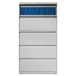"Lorell Lateral File, 5 Drawer, 42"" x 18⅝"" x 67⅝"", Light Gray"