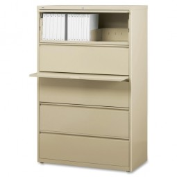 """Lorell Lateral File, 5-Drawer, 42"""" x 18⅝"""" x 67⅝"""", Putty"""