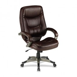 "Lorell Westlake Executive Highback Chair, 26½"" x 28½"" x 46½"", Saddle/Leather/CNE"
