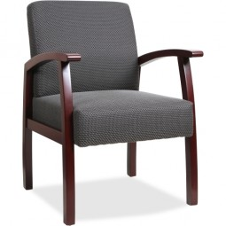 Lorell Guest Chair, Charcoal/Mahogany