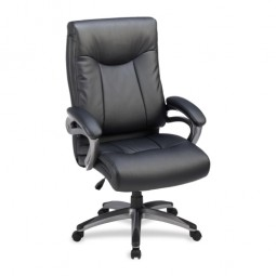 "Lorell Highback Executive Chair, Leather, 27"" x 30"" x 46½"", Black"