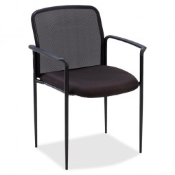 "Lorell Reception Side Chair, with Arms, 23¾"" x 23½"" x 33"", Black"