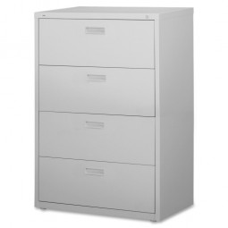 "Lorell 30""W Lateral File, 4-Drawer, Light Gray"