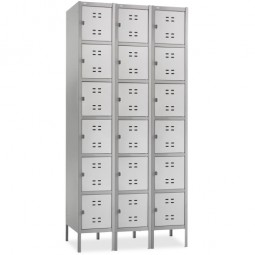 "Safco 6 Tier Locker, Three Wide with Legs, 36"" x 18"" x 78"", Gray"