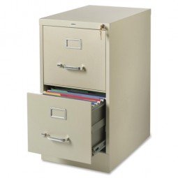 "Lorell Vertical File, 2-Drawer, 22"" Deep, Legal, Putty"