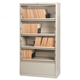 """Lorell Lateral File, RCD, 5 Drawer, 36"""" x 18⅝"""" x 68¾"""", Putty"""