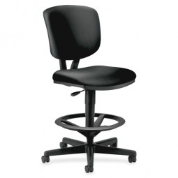 HON Swivel Task Stool, Adjustable, Black Leather