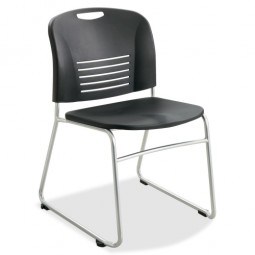 Safco Sled Base Stack Chairs - Black - Purchase in quantities of 2