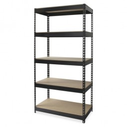"Lorell Riveted Steel Shelving, 48"", Black - Various Sizes"