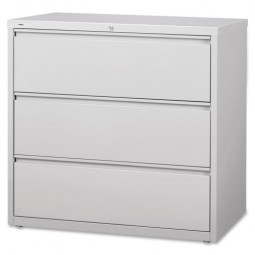 """Lorell Lateral File, 3 Drawer, 42"""" x 18⅝"""" x 40¼"""", Light Gray"""