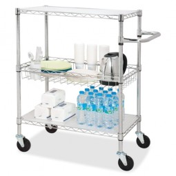 """Lorell 3-Tier Wire Rolling Cart, 18"""" x 30"""" x 40"""", Chrome"""