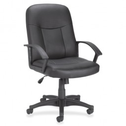 Lorell 84869 Executive MidBack Chair, Black Leather