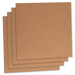 "Lorell Cork Panels, 12"" x 12"", 4/Pack, Natural"