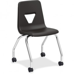 """Black Mobile Student Task Chair - 18""""H - Pack of 2"""