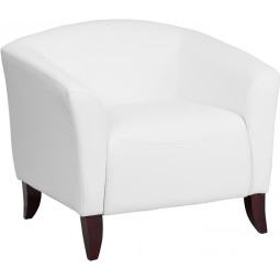 Signature Imperial Series White Leather Chair - 3 Seat Options