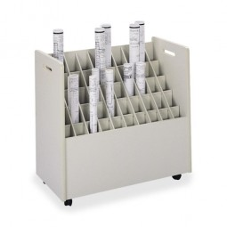 "Safco Mobile Roll File, 50 Compartments, 30¼"" x 15¾"" x 29¼"", Putty"
