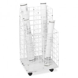 "Safco Wire Roll File, 4 Compartments, 16¼"" x 16½"" x 30½"", White"