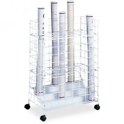 "Safco Wire Roll File, 24 Compartments, 21"" x 14¼"" x 31¾"", White"