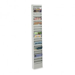 "Safco Magazine Rack, 23 Pockets, Steel, 10"" x 4"" x 65½"", Gray"