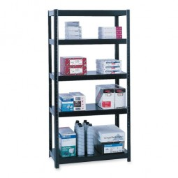 "Safco Steel Shelving 48"" x 18"" x 72"" or 97"" x 18"" x 36"", Black"