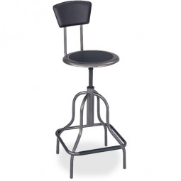 "Safco Industrial Stool, Seat Height 22"" to 27"", Seat Back 12"" x 7"",  Pewter"