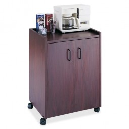 "Safco Refreshment Center, Mobile, Cabinet, 23"" x 18"" x 31"", Mahogany"