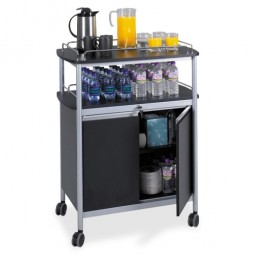 "Safco Mobile Beverage Stand, 33½"" x 21¾"" x 43"", Gray/Black"
