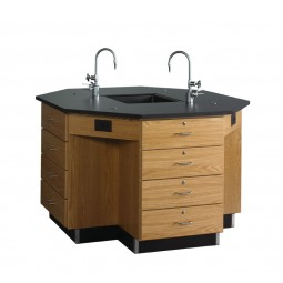"Solid Oak Octagon Workstation with Sink, Drawer Base, 56""W - 2 Top Types"