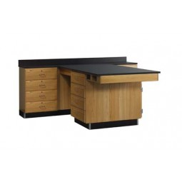 "Solid Oak Wood Perimeter Station with 4 Drawer, 90""W - 2 Top Types"