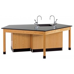 """Solid Oak Wood Forward Vision ADA Workstation with Door/Drawer Cabinet, Sink, Epoxy Resin Top, 96""""W x 34""""H x 50""""D"""