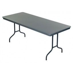 "30"" x 72"" AmTab 306DL Dynalite ABS Plastic Table with Wishbone Round Steel Legs"