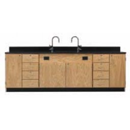 "Solid Oak Wood Wall Service Bench with Door/4 Drawer Cabinet, Sink, 108""W - 2 Top Types"