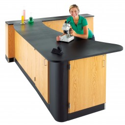 "UV Clear Finish Solid Oak Workstation, Epoxy Resin Top, 96""W - 2 Configurations"