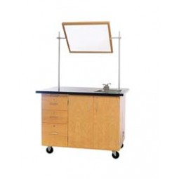 """Solid Oak Wood Mobile Instructor's Desk with Storage, ChemGuard Top, 36""""W x 84""""H x 16""""D"""