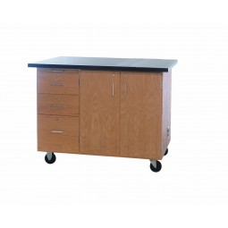 """Solid Oak Wood Mobile Instructor's Desk with Storage and Rod Sockets, Flat ChemGuard Top, 36""""W x 84""""H x 16""""D"""