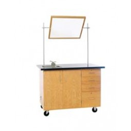 "Solid Oak Wood Extra Large Mobile Demonstration Center with Sink and Fixtures, ChemGuard Top, 54""W x 36""H x 30""D"