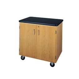 "Solid Oak Wood Mobile Storage Cabinet with Swivel Casters and ChemGuard Top, 500lbs Capacity, 36""W x 36""H x 24""D, 1 Full Adjustable Shelf"