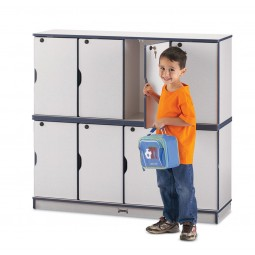 Jonti-Craft Rainbow Accents Stacking Lockable Lockers - Double Stack - Multiple Edge Colors