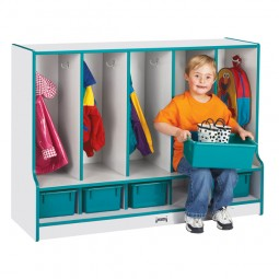 Five Section Coat Locker with Matching Trays